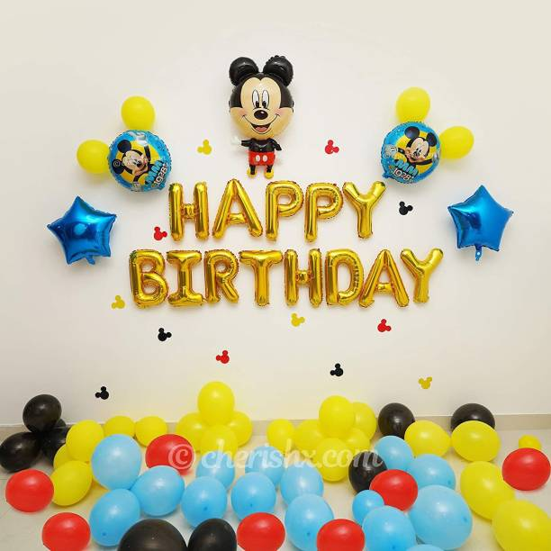 CherishX.com Solid Mickey Mouse Theme Kids Birthday Decoration Items -Pack of 47 Pcs - Mickey Theme Foil Balloon and Star Shape Foil Balloon, Multicolor Latex Balloon Balloon Bouquet