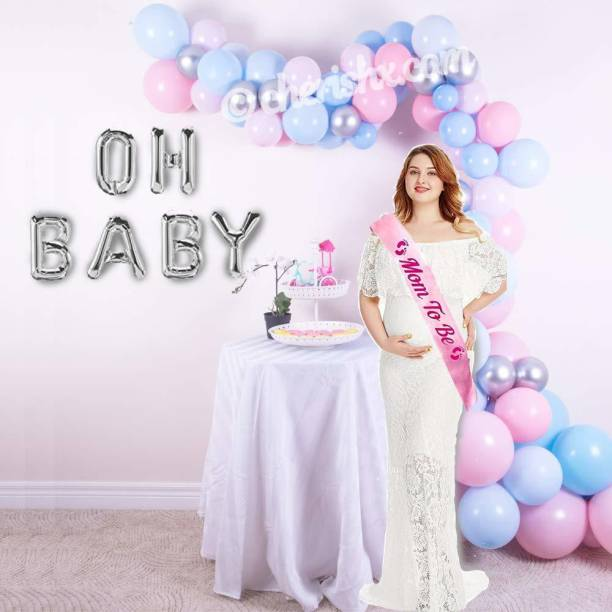 CherishX.com Solid Oh baby, Baby Shower Balloon Decoration Kit - 73 Pcs Combo - Silver Foil Balloon, Latex and Pastel Balloon with Sash and Balloon Pump Balloon Bouquet