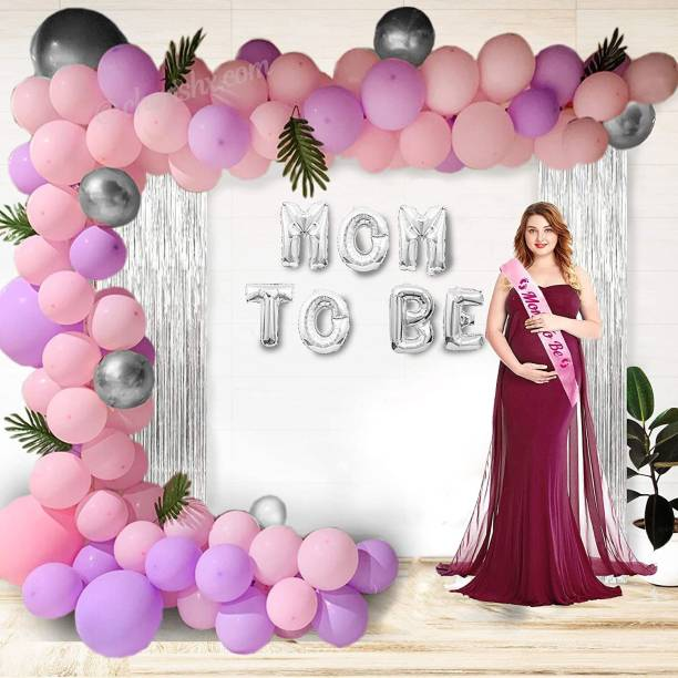 CherishX.com Solid Mom To Be Baby Shower Balloon Decoration Kit - 65 Pcs Combo - Silver Foil Balloon, Latex, Pastel and Chrome Balloon with Silver Curtain, Sash and Balloon Pump Balloon Bouquet
