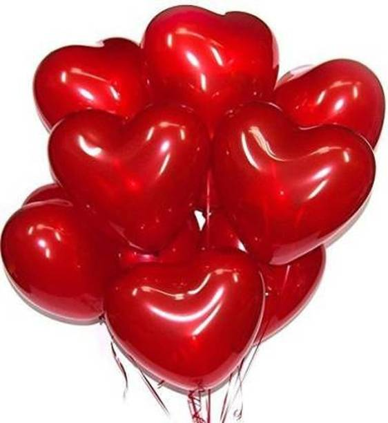HERDEM Solid HEART SHAPE RED BALLOONS PACK OF 50 Balloon
