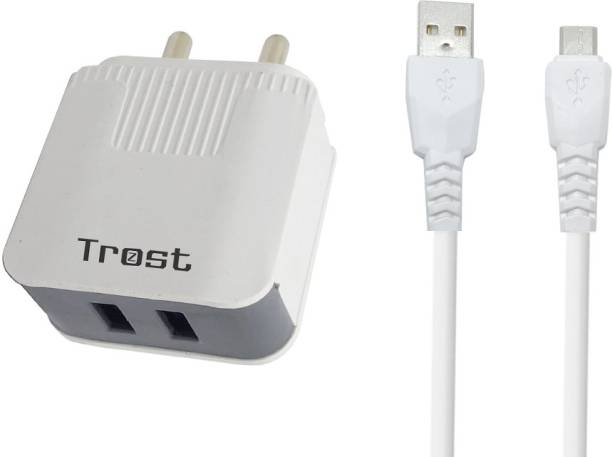 TROST 3.4Amp Dual USB Wall Adapter With Micro USB Cable for Samsung J7 PRO, J7 Max, J7 Prime 3.4 A Multiport Mobile Charger with Detachable Cable