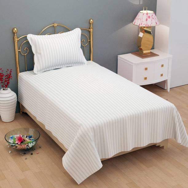 BLUEDOT 180 TC Cotton Single Striped Bedsheet