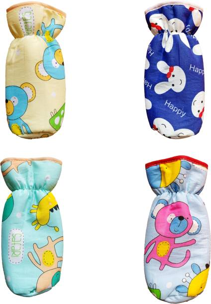 MOM & SON New Born Baby Soft cotton Feeding Bottle Cover | Cartoon Printed on The Front and Back of Cover | Suitable for 290ml