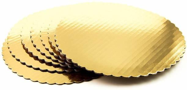PACTIV BAKE Board 10 INCH Round Cardboard 5 Picecs-Piece Cardboard Round Cake Circle Base, 10 Inches Diameter, Gold Paper Cake Server