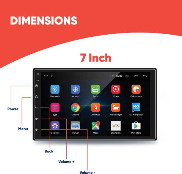 "godryft 7"" Inch 2GB RAM 16GB Rom Android Car Dashboard Entertainment Screen Set Supports Wi-fi, Bluetooth, Hi-Fi Audio with Super Bass, 1.3 Ghz Processor, GPS, Screen Mirror/Cast, Equalizer Car Stereo"