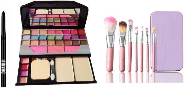 Dhaniji BLACK Smudge Proof Kajal with Set of 7 Makeup Brushes include storage box & All in One Best Makeup kit 6155 (Eyeshadow,Blusher,Compact,Lip Gloss (3 Items in the set)