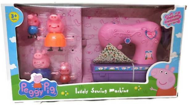 A AND A CREATIONS peppa pig doll set with sewing machine, peppa pig house set