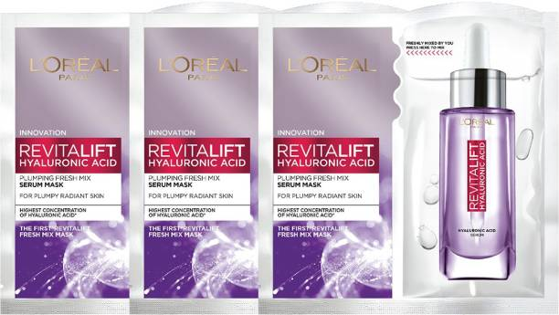 L'Oréal Paris Revitalift Hyaluronic Acid Fresh Mix Serum Sheet Mask (Pack of 3) 162g