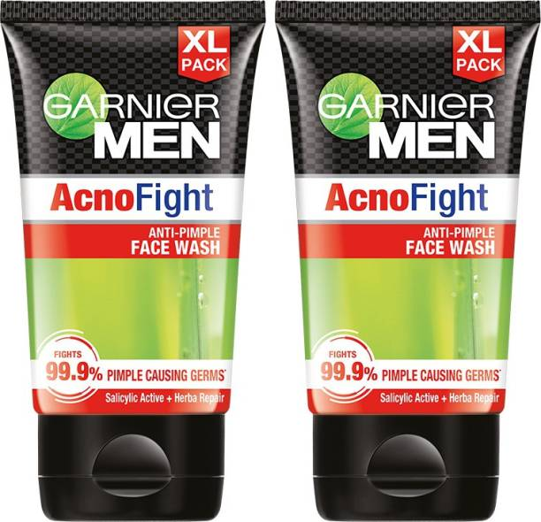 GARNIER Men Acno Fight Facewash - For Pimple And Acne Prone Skin, 150gm (Pack of 2) Face Wash