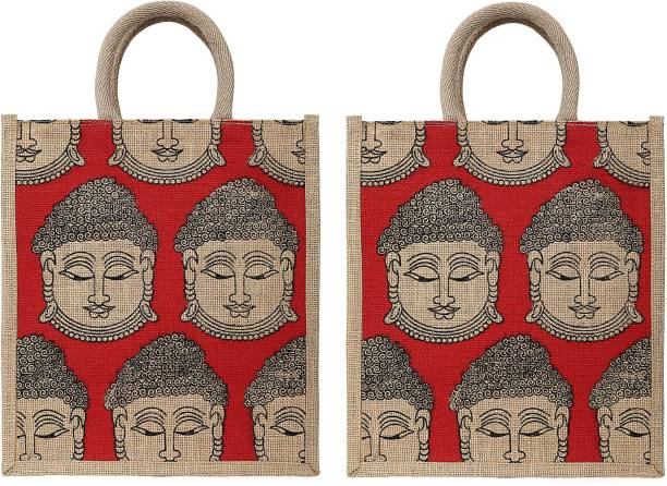 Intiqo Designs Buddha Collection Jute Tote Bags, Set of 2 Burlap Bag with Laminated Interior and Soft Cotton Handle with Zipper with Buddha Prints Pack of 2 Grocery Bags