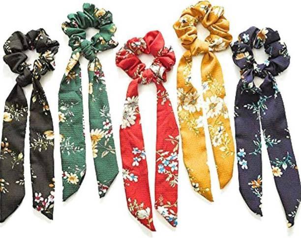Renu enterprises Elastic Hair Bands/Ties Ribbon/Scarf Ponytail Scrunchies for Women - Set of 4 Multicolor Hair Band (Multicolor) Head Band