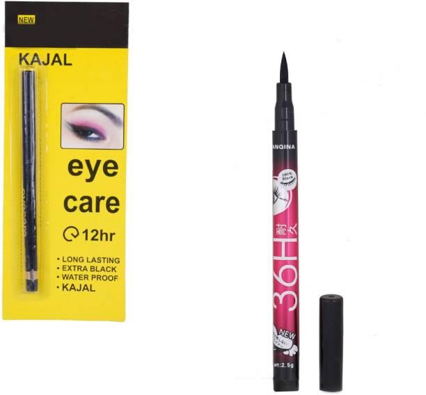Dragon Crew Eye Care Kajal (12H) With Sketch Pen Eyeliner (36H) Combo