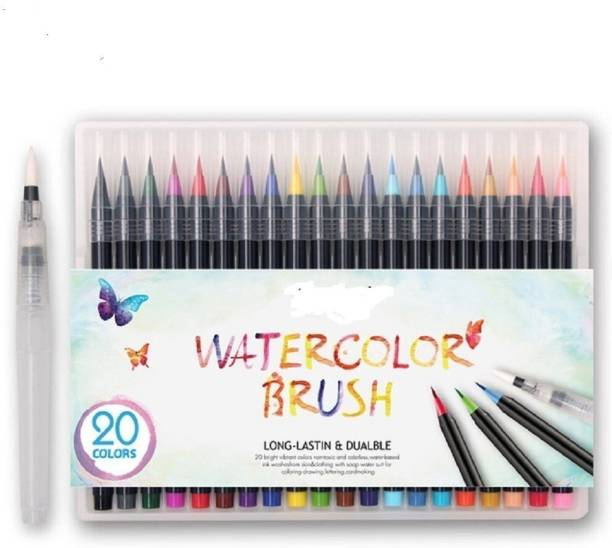Bianyo 20 Color Premium Watercolor Painting Brush Marker Pens Set, Soft Flexible Tip Create Watercolor Effect - Best for Adult Coloring Books, Manga, Comic, Calligraphy