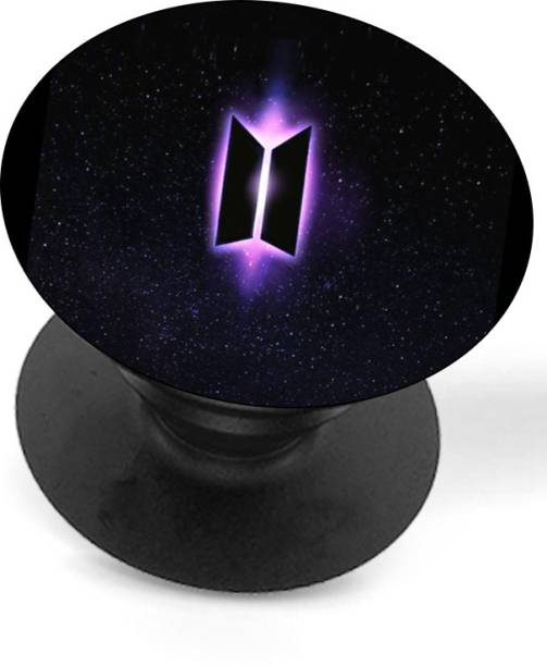 Just Moments 360 Rotation BTS Holder Grip/Stand in Glossy Print for Mobile and tablet For Girls.(BT21) (Purple Logo) Mobile Holder