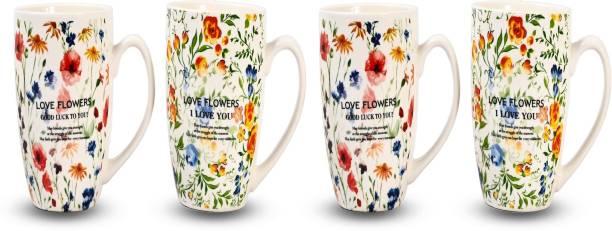CupShup Ceramic for Coffee/Tea (Microwave Safe) 350ml (mix set of 4) Ceramic Coffee Mug