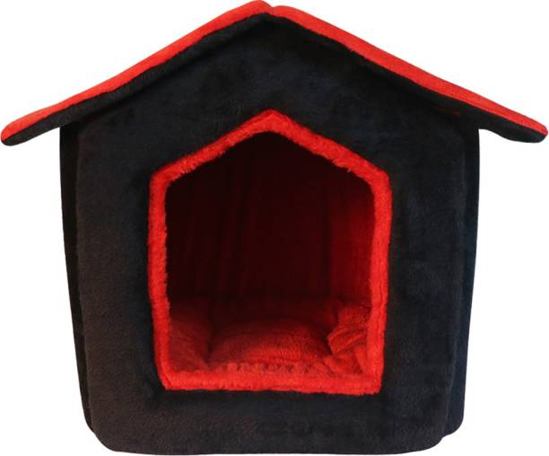 Hiputee Foldable Soft fur Fabric Dual Color House/Hut for Dogs & Cats S Pet Bed