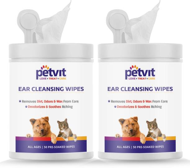 Petvit Ear Cleansing Wipes For Dogs and Cats To Remove Dirt, Odors & Wax From Ears - Fragrance Less 50 Wipes | Pack of 2 Pet Ear Eye Wipes