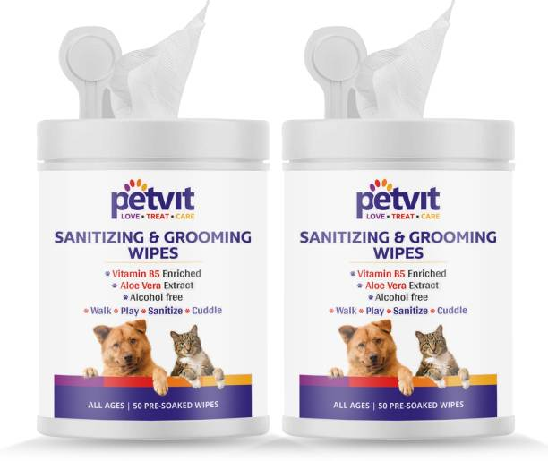 Petvit Cleansing & Grooming Wipes For Dog and Cat Enriched with Vitamin B5 and Aloe Vera - 50 Wipes | Pack of 2 Pet Ear Eye Wipes