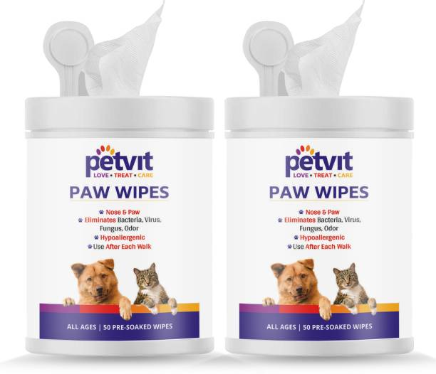 Petvit Nose And Paw Wipes For Eliminates Bacteria, Virus, Fungus, Odor - Fragrance Less 50 Wipes |For All Age Group | Pack of 2 Pet Ear Eye Wipes