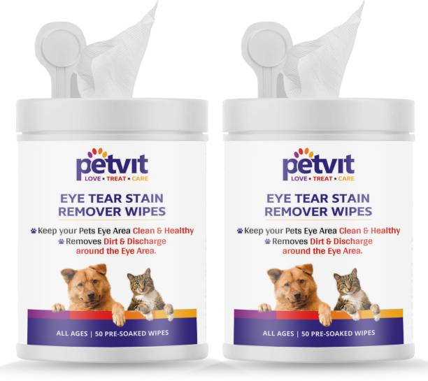 Petvit Eye Tear Stain Remover Wipes For Dogs And Cats l Keep Your Pets Eye Area Clean & Healthy - Fragrance less 50 wipes | For All Age Group | Pack of 2 Pet Ear Eye Wipes