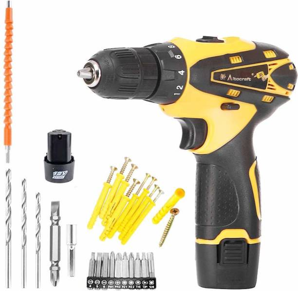 Runwet _Super Quality Heavy_Multi-Function Cordless Drill Machine   12V Lithium-Ion 1.5Ah with 2 Batteries   2 Speed Control   LED Light Guided   Keyless Chuck   Reverse Forward   Motion Screw Driver with Bits Set Pistol Grip Drill