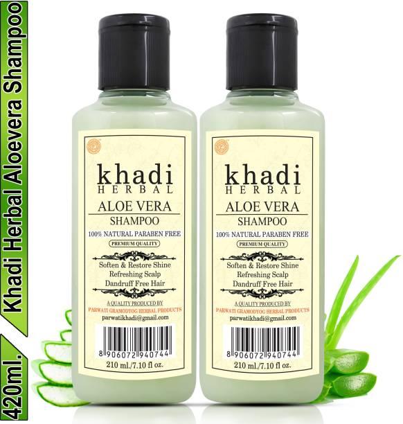 Khadi Herbal Aloevera Shampoo/Hair Cleanser For Shiny & Dandruff Free Hair (Pack Of-2)