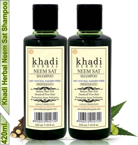 Khadi Herbal Neem Sat Shampoo/Hair Cleanser Reduce Hair Fall Protection From Pollution (Pack Of-2)