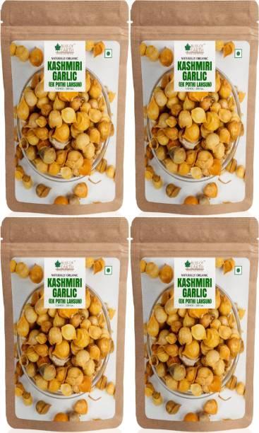 Bliss of Earth Naturally Organic Kashmiri Lahsun From Indian Himalayas, Ek Pothi Lahsun, Snow Mountain Garlic (4x200gm) Pack Of 4