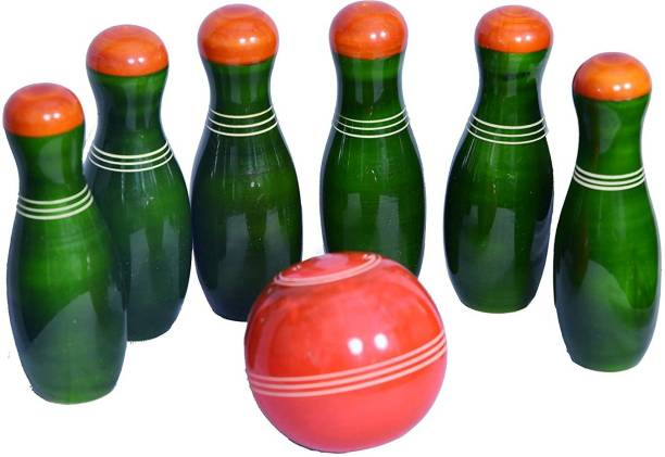 Smartcraft Wooden Bowling Set, Handmade Bowling Set (3 Years+) - Indoor & Outdoor Fun Learning Game- Multicolor Sports Bowling Set