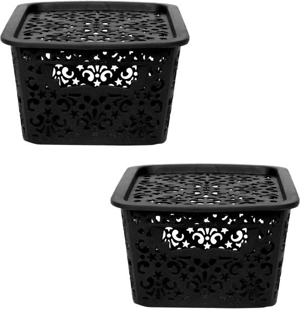 Cutting EDGE Small Turkish Baskets Small with Lid for Kitchen   Office   Pen   Pencil   Colours Utility   Cosmetics   Accessories   Closet   Wardrobe - Brown   Set of 2 Storage Basket