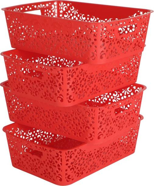 Cutting EDGE Medium Turkish Basket For Closet   Wardrobe   Kitchen   Vegetables   Toys   Books   Office   Stationery   Utility   Cosmetics   Accessories Storage Basket Without Lid (Red) (36.5 CM x 21 CM x 10 CM) (Pack Of 4, Medium) Storage Basket