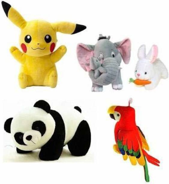 GOD GIFT GALLERY Combo 5 pics Animale Soft Toys Set Elephant 40cm with 2 Baby , Rabbit 30cm , Panda 30cm , Pikachu 30cm , Parrot 35 cm for Kids Playing Soft Toys  - 35 cm