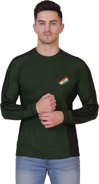 AXOLOTL Solid Men Round Neck Dark Green T-Shirt