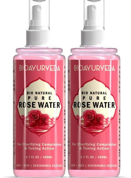 BIOAYURVEDA Bio Natural Pure Rose Water|Herbal Facial Toner & Astringent| Premium, Natural & Organic Rose Water (Gulabjal)| 200 ml - Pack 2 Men & Women