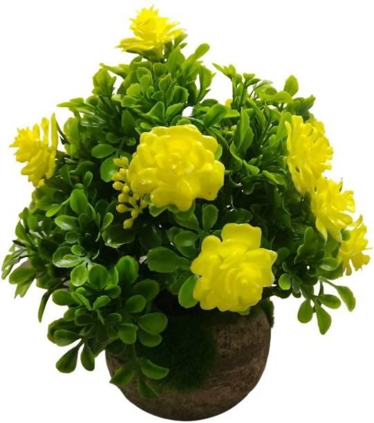 EXOTICA Artificial Yellow Green Rose Flower Yellow Wild Flower Artificial Flower  with Pot