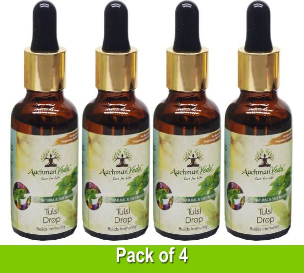 Aachman Veda Tulsi Drops Pack of 4 for Cough & Cold Relief