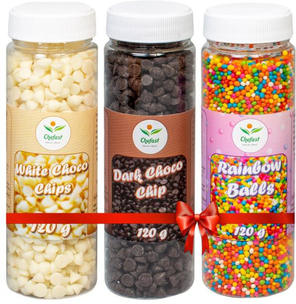 Chefast Pack of 3 Dark Choco Chip, Colored Rainbow Balls, White Choco Chip for Cakes Edible (120 gm Each) Sprinkles
