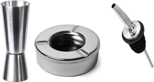 Anne-kee Stainless Steel 1 PCs 30/60 ML Peg Measure For Wine Whisky Measure Jigger 1 PCs Ashtray Cigarette Ash Holder and 1 PCs Pourer Liquor Oil Wine Home Kitchen Bar Tool Sets 3 - Piece Bar Set