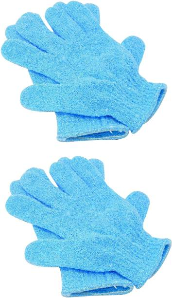 Three Elements Exfoliating Dual Texture Bath Gloves for Shower Dead Skin Cell Remover,Scrubbing Glove Bath Mitts Scrubs for Shower Gloves with hanging loop-random color (2 Pairs)