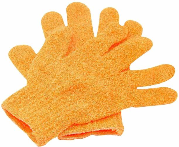 Three Elements Exfoliating Dual Texture Bath Gloves for Shower Dead Skin Cell Remover,Scrubbing Glove Bath Mitts Scrubs for Shower Gloves with hanging loop-random color (1 Pair)