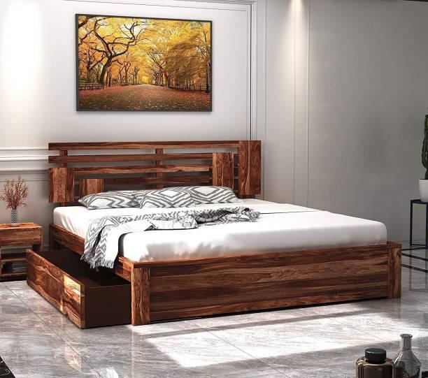 Springtek Amaze Pure Sheesham Wood King Size Storage Bed, Teak Color - 78 x 72 inches Solid Wood King Drawer Bed