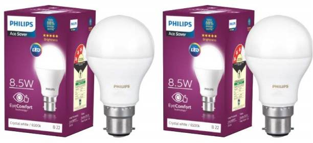 PHILIPS 8.5 W Round B22 LED Bulb