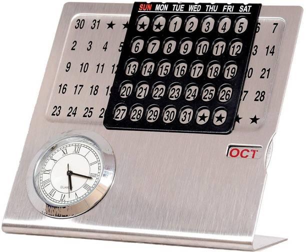 SAADAT Permanent LIFETIME Metal Table Calendar Never Ending Calendar with Clock & Month Display for Planner Office Home & Gift Item 2021 Table Calendar