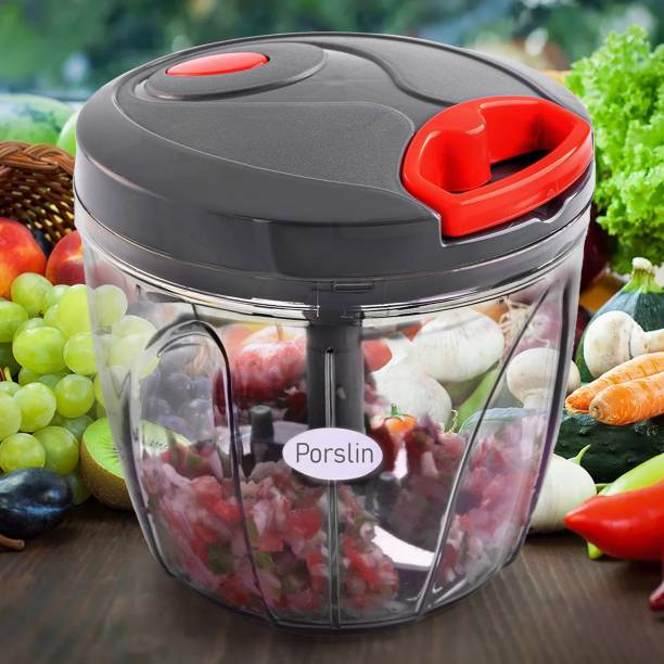 Porslin 6 Stainless Steel Blade System 900 ML Dismal Black Color Mini Chopper for Kitchen Dori Chopper Quick Handy Vegetable and Fruit Chopper XXL Size Fruit Nut Onion Chopper, Hand Meat Grinder Mixer Food Processor Shredder Salad Maker Vegetable Tools Cutter for Kitchen Vegetable & Fruit Chopper