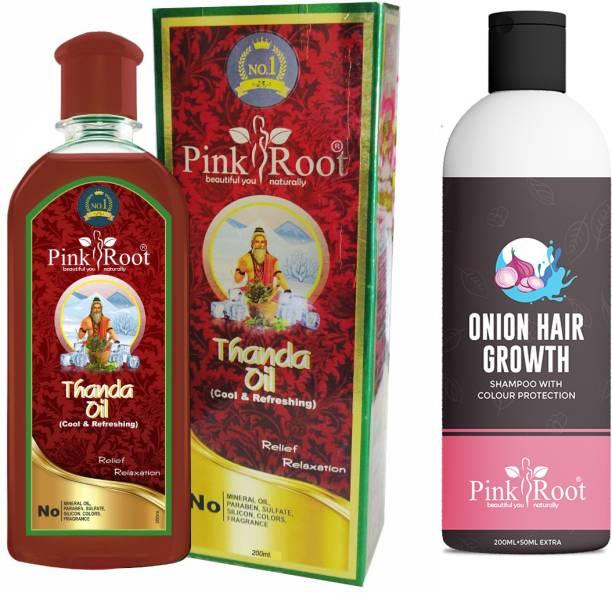 PINKROOT Thanda Oil 200ml with Onion Hair Growth Shampoo 200ml