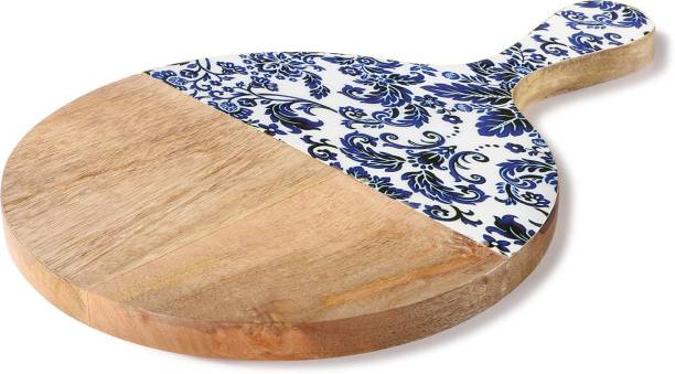 Woodsmyths Casa Blanca Round Chopping Board - Exotic Floral Half Decal Printed Chopping Board in Natural Mango Wood with easy Grip Handle Wooden Cutting Board