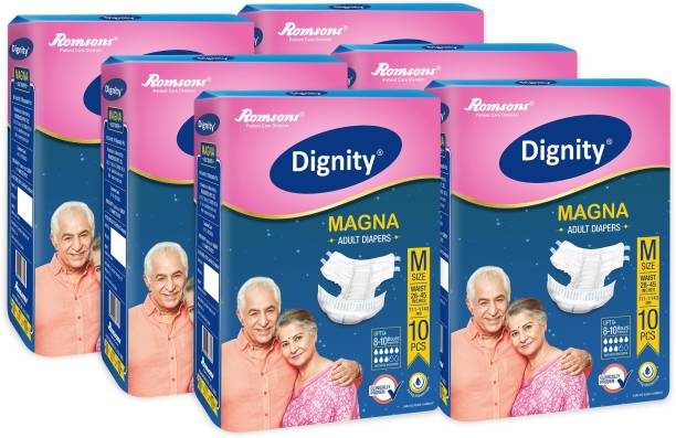 """DIGNITY Magna Adult Diapers, Medium, Waist Size 28"""" - 45"""", 10 Pcs/Pack (Pack of 6), 60 Pcs Adult Diapers - M"""