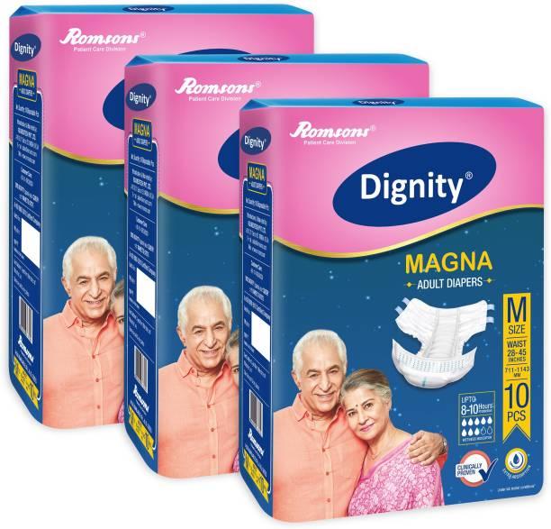 """DIGNITY Magna Adult Diaper Medium 10 Pcs, Waist Size 28""""- 45"""" Adult Diapers - M"""
