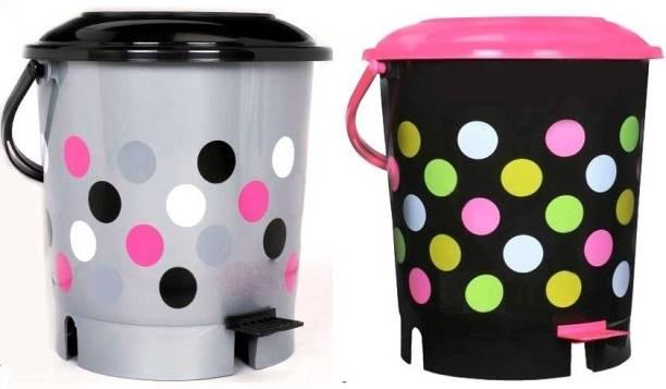 N H Enterprise New Stylish Colorful Pedalbin ( 2 pcs - Grey / Pink ) Plastic Dustbin