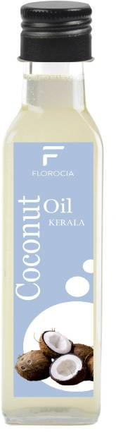 Florocia Kerala Cold Pressed Coconut Oil 100 Ml Glass Bottle | Nariyal Oil 100 Ml 100% Pure and Natural Coconut Oil Coconut Oil Glass Bottle
